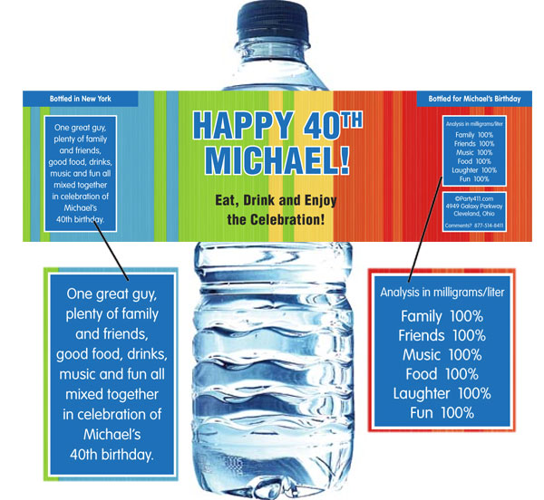Birthday Celebrate Water Bottle Label