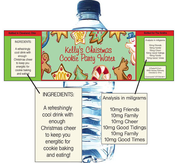 Christmas Cookies Water Bottle Label