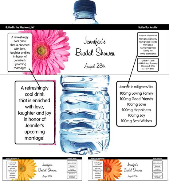 Daisy Theme Water Bottle Label