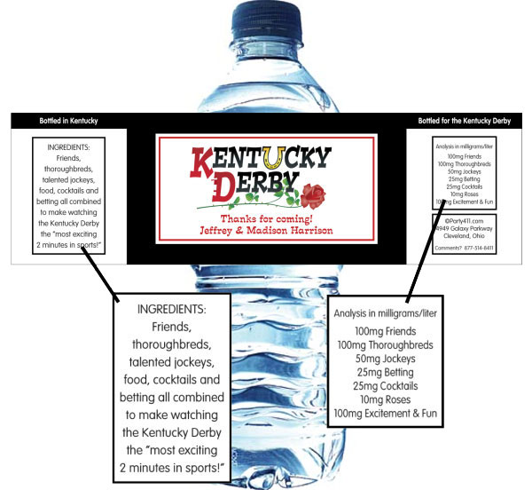 Kentucky Derby Party Theme Bottle Label, Water