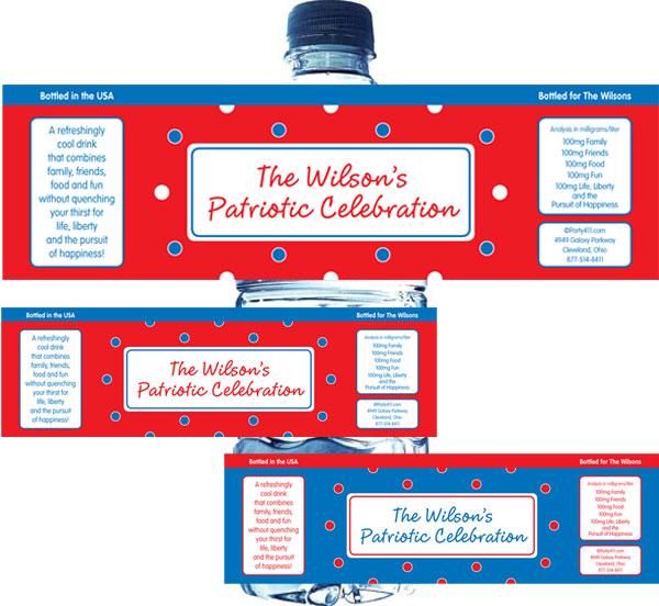 Polka Dot Patriotic Water Bottle Labels