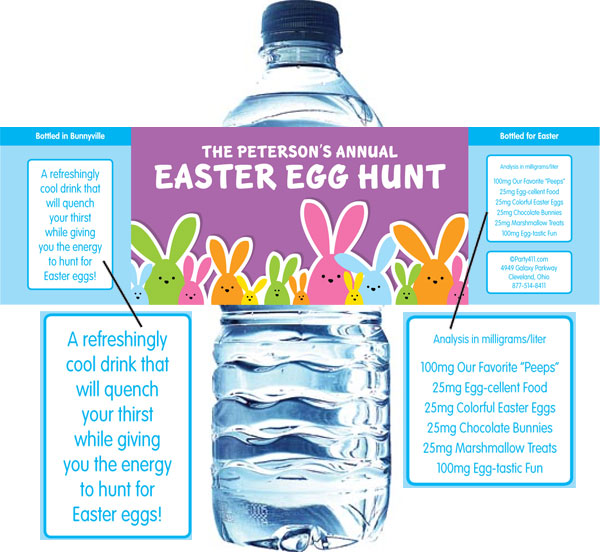 Colorful Easter Bunnies Theme Water Label