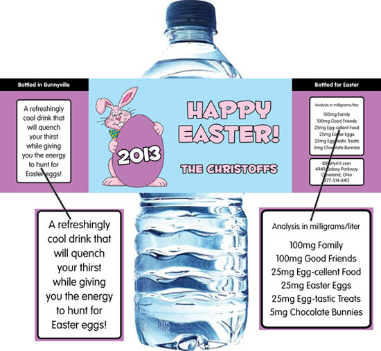 Easter Bunny Theme Party Water Label