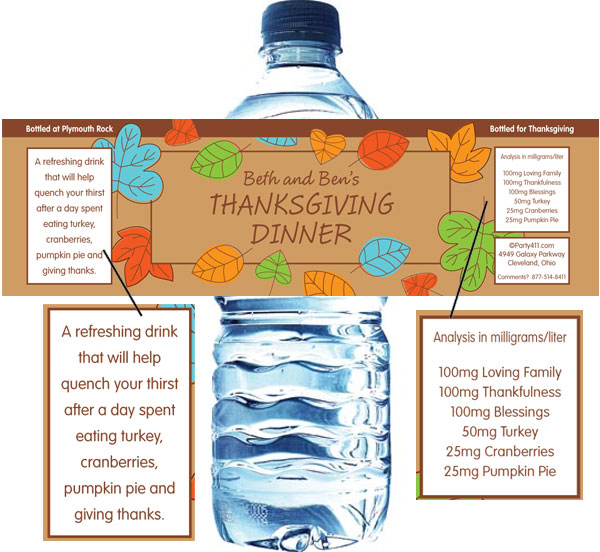 Falling Leaves Water Bottle Label