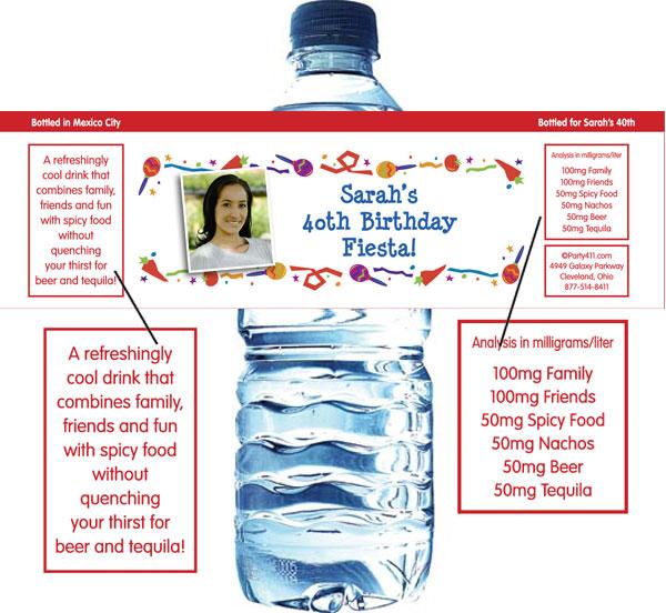 Fiesta Party Theme Water Bottle Label