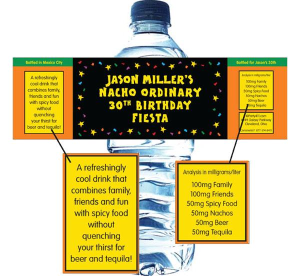 A Fiesta Bash Theme Water Bottle Label