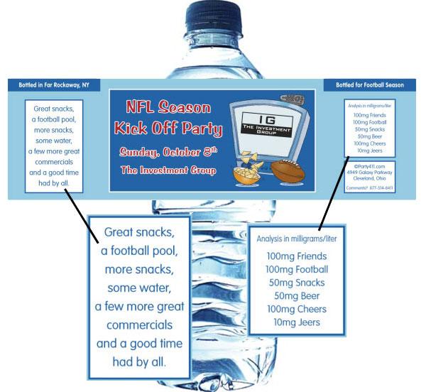 Football Kick Off Water Bottle Label