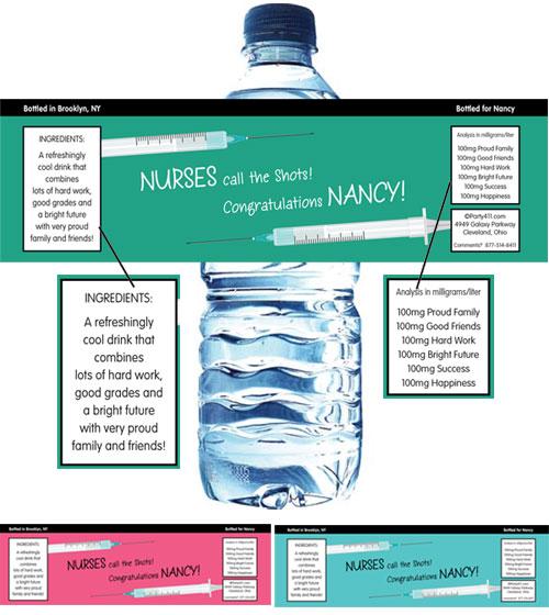 Graduation Nursing School Water Bottle Label