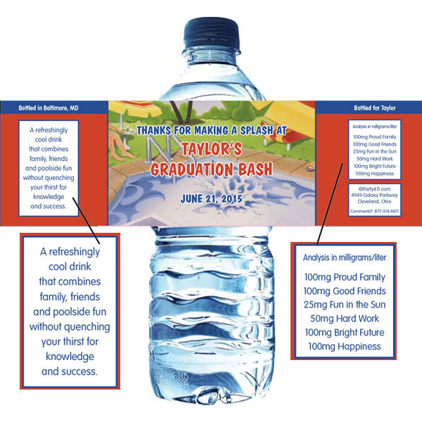 Graduation Pool Theme Water Bottle Label