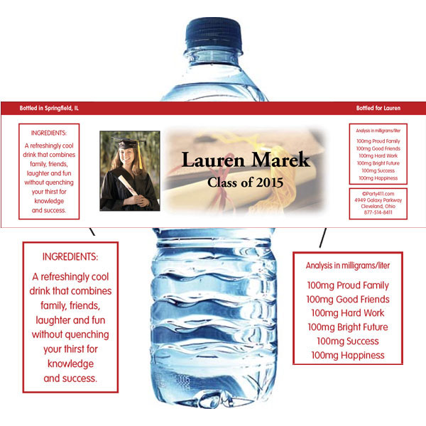 Graduation Photo Theme Water Bottle Label