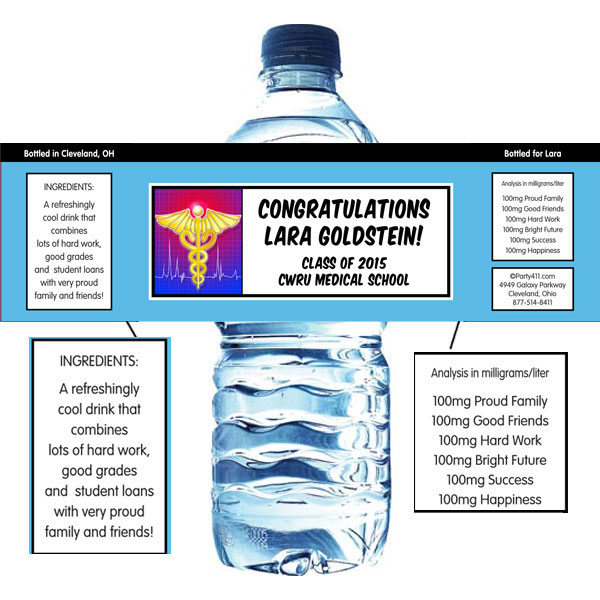Medical School Graduation Water Bottle Label