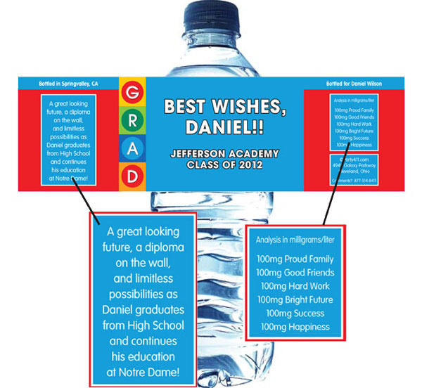 Graduation Colorful Theme Water Bottle Label