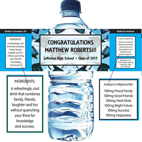 Graduation Caps Theme Water Bottle Label