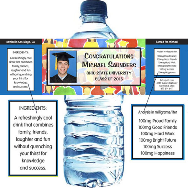 Graduation Crowd Theme Water Bottle Label