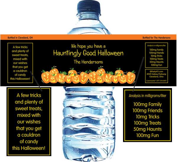 Halloween Fun Pumpkins Water Bottle Label