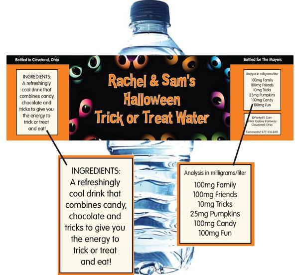Halloween Eyes Water Bottle Label