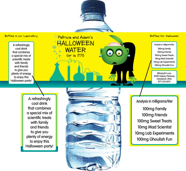 Halloween Lab Water Bottle Label
