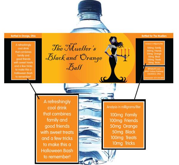 Halloween Ball Water Bottle Label