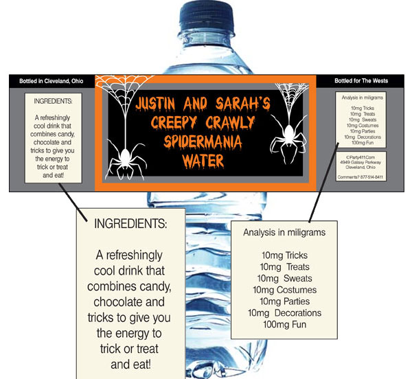Halloween Spiders Water Bottle Label