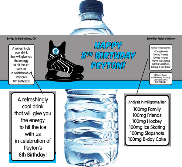 Hockey Water Bottle Label