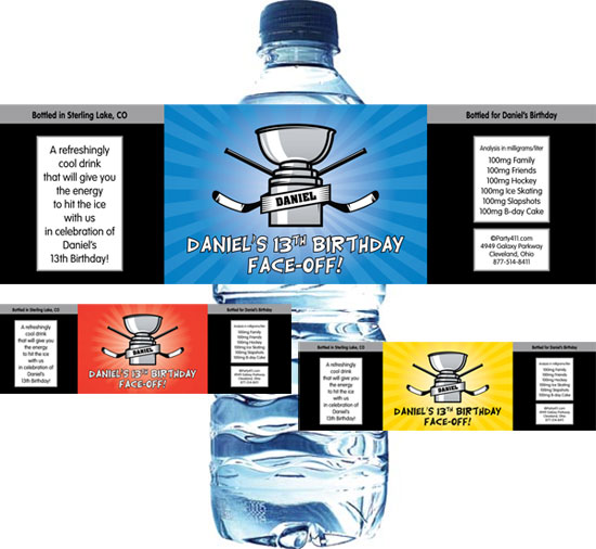Hockey Cup Water Bottle Label