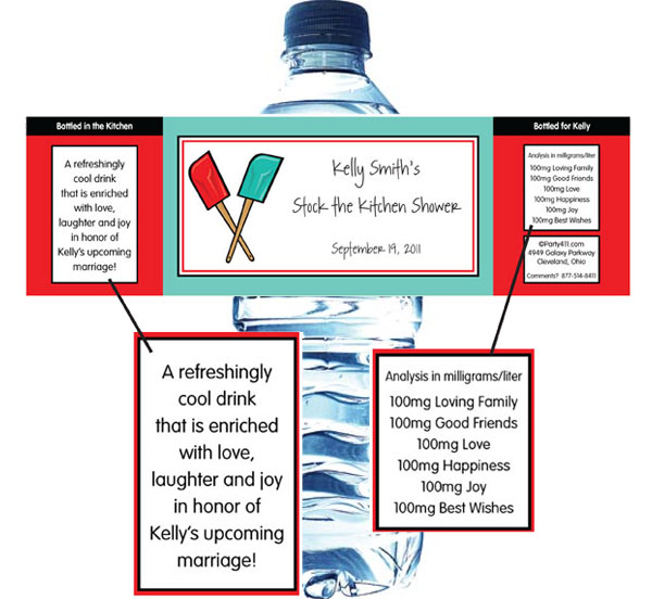 Bridal Shower Kitchen Theme Water Bottle Label
