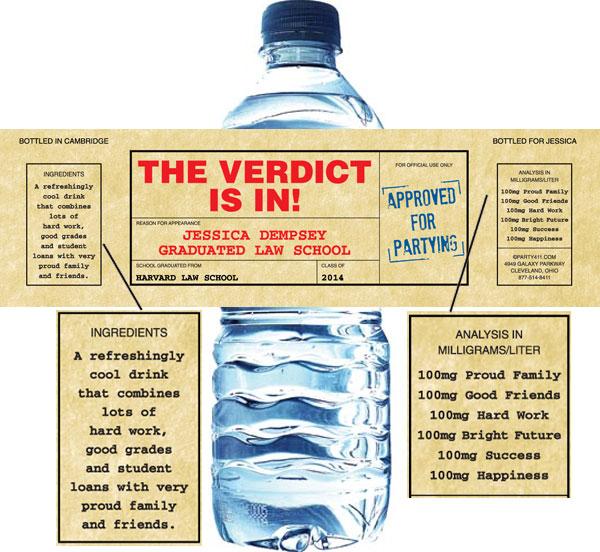 Graduation Law School Subpoena Water Bottle Label