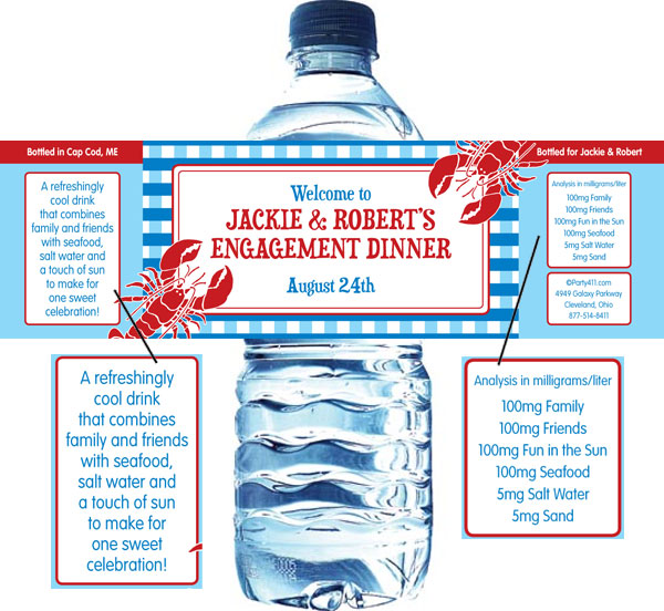 Lobster Water Bottle Label
