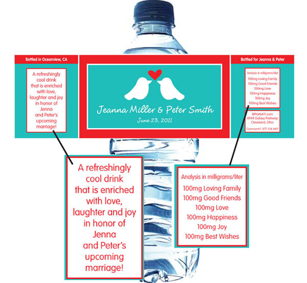 A Lovebirds Water Bottle Label