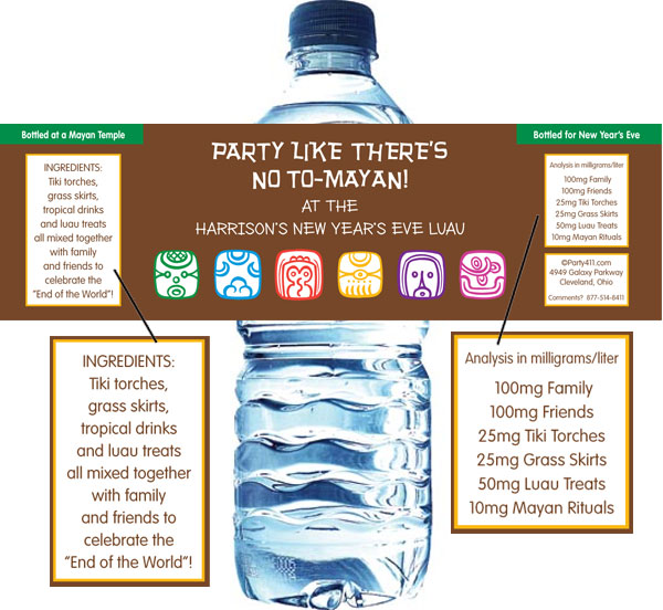 Mayan End of the World Water Bottle Label