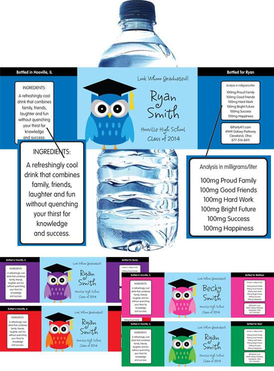 Graduation Owl Theme Water Bottle Label