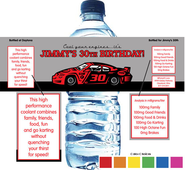 Racing Party Water Bottle Label