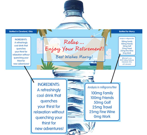 A Retirement Theme Water Bottle Label