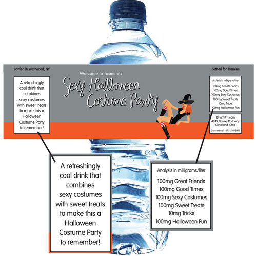 Halloween Sexy Party Water Bottle Label