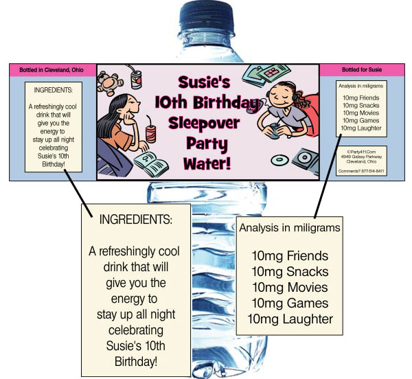 Sleepover Friends Theme Bottle Label