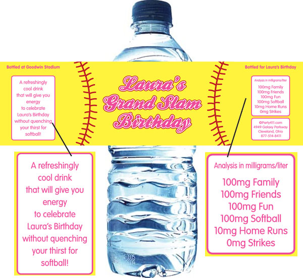 Softball Water Bottle Label