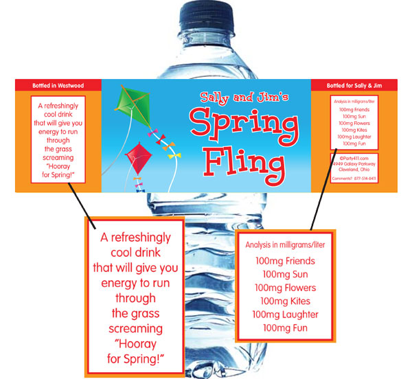 Flying Kites Water Bottle Label