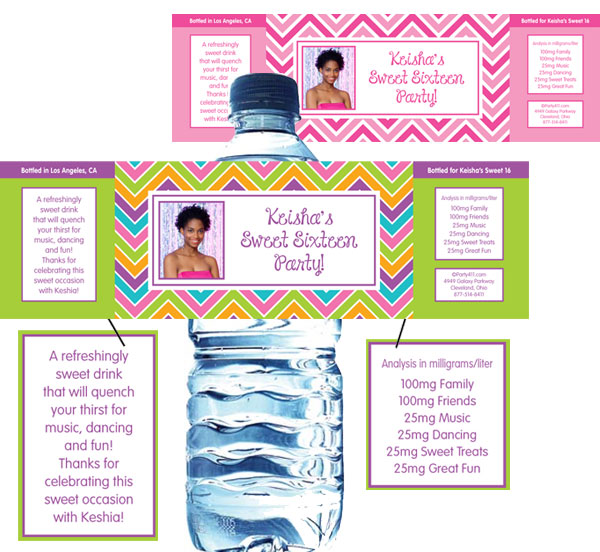 Sweet Zig Zags Water Bottle Label