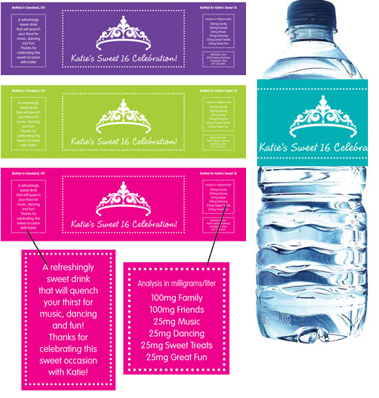 Tiara Sweet 16 Water Bottle Label