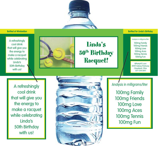 Tennis Party Water Bottle Label