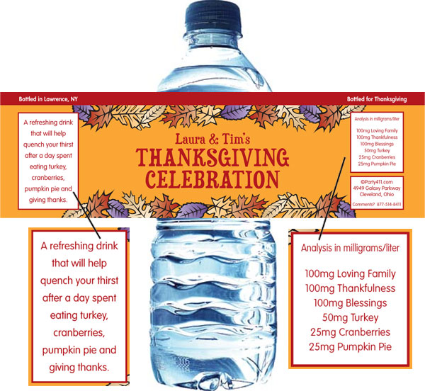 Fall Leaves Water Bottle Label