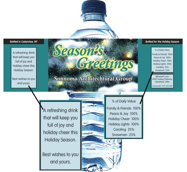 Winter Holidays Theme Water Bottle Label