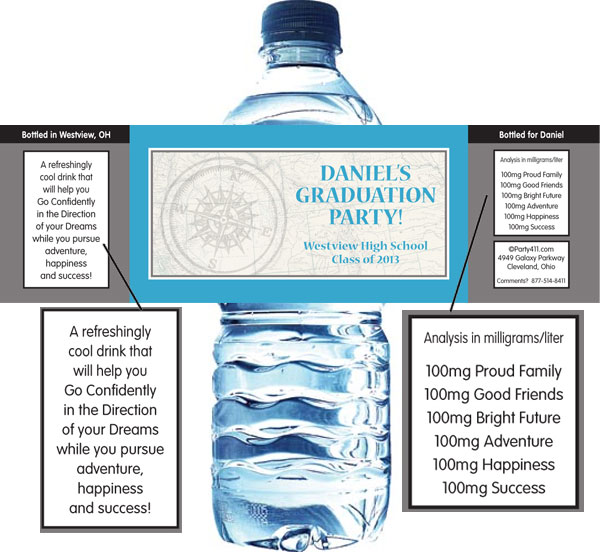 Graduation Travel Theme Water Label