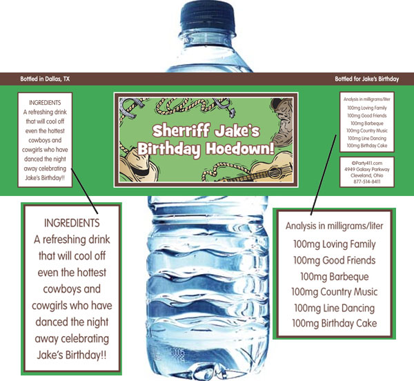 Western Theme Water Bottle Label