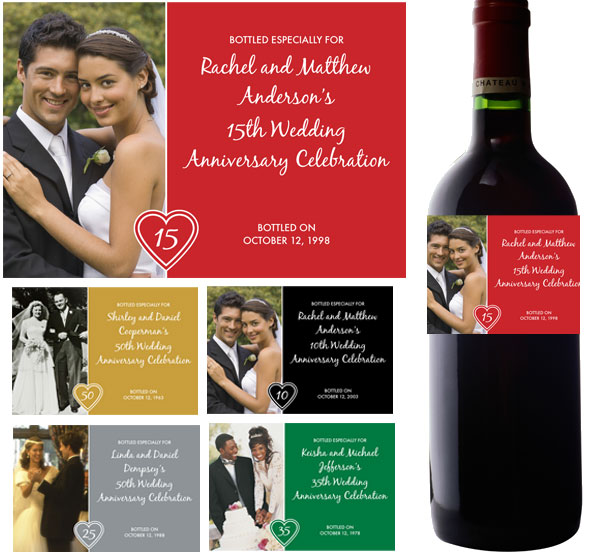 Anniversary Heart Photo Theme Wine Bottle Label
