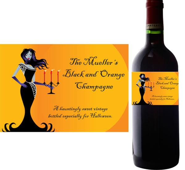 Halloween Ball Wine Bottle Label
