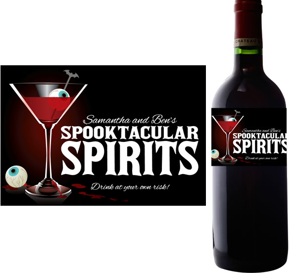 Spooky Spirits Wine Bottle Label