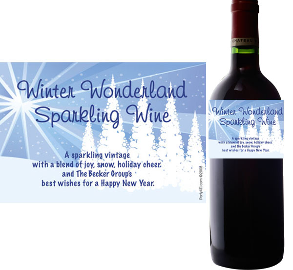 Winter Wonderland Wine Bottle Label