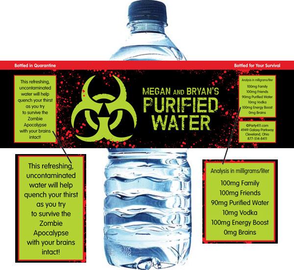 Zombie Theme Bottle Label