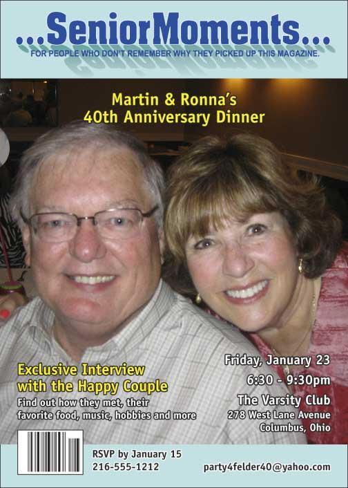 Getting Older Magazine Cover Invitation